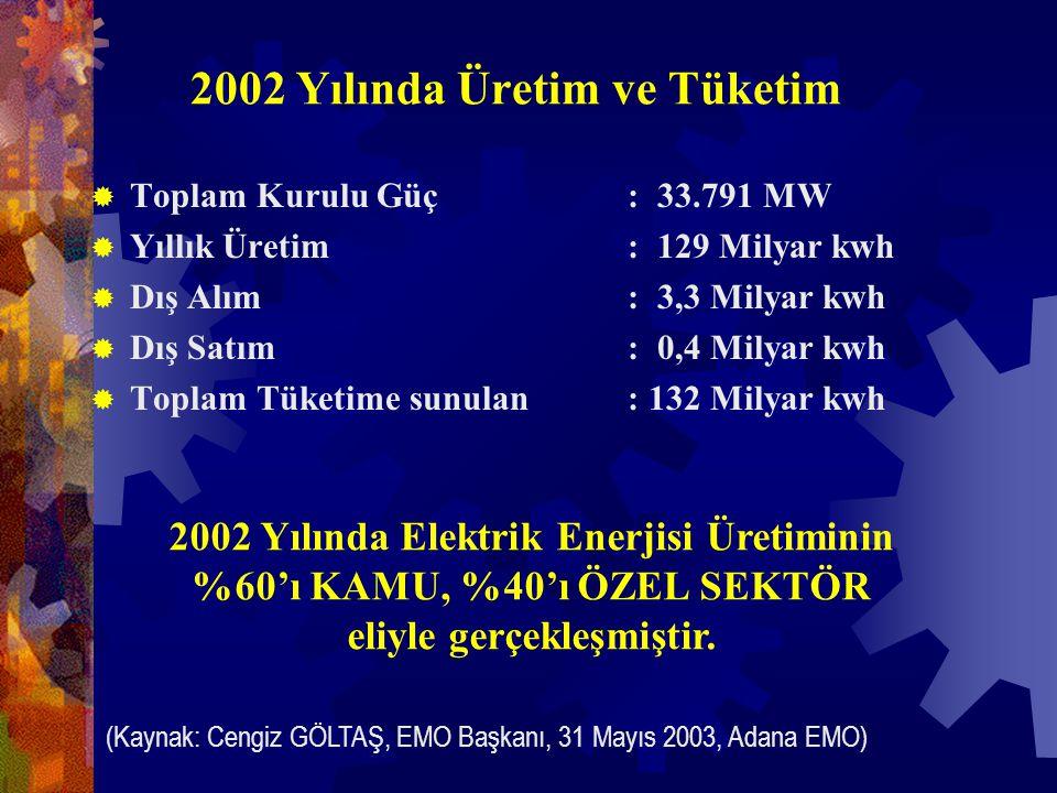2002 Yılında Üretim ve Tüketim  Toplam Kurulu Güç : 33.791 MW  Yıllık Üretim : 129 Milyar kwh  Dış Alım : 3,3 Milyar kwh  Dış Satım : 0,4 Milyar kwh  Toplam Tüketime sunulan : 132 Milyar kwh 2002 Yılında Elektrik Enerjisi Üretiminin %60'ı KAMU, %40'ı ÖZEL SEKTÖR eliyle gerçekleşmiştir.