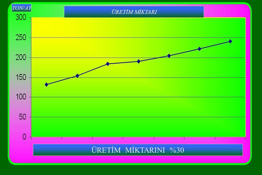 ÜRETİM MİKTARI TON/AY ÜRETİM MİKTARINI %30