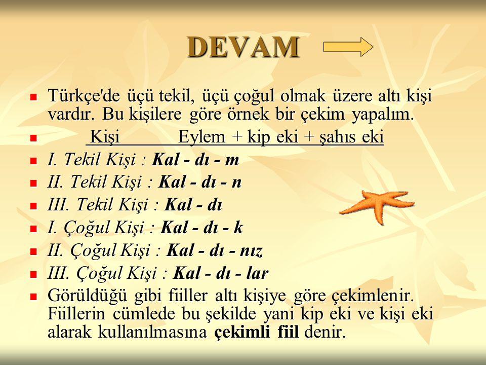 DEVAM  Türkçe'de üçü tekil, üçü çoğul olmak üzere altı kişi vardır. Bu kişilere göre örnek bir çekim yapalım.  Kişi Eylem + kip eki + şahıs eki  I.