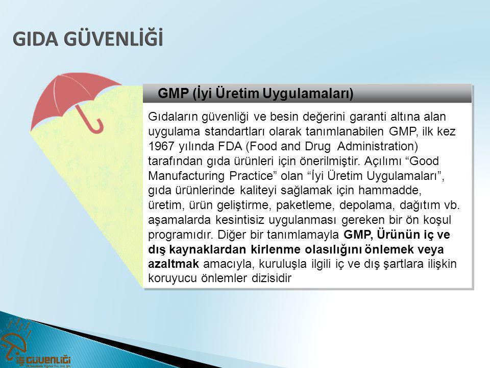 GMP (İyi Üretim Uygulamaları) Gıdaların güvenliği ve besin değerini garanti altına alan uygulama standartları olarak tanımlanabilen GMP, ilk kez 1967