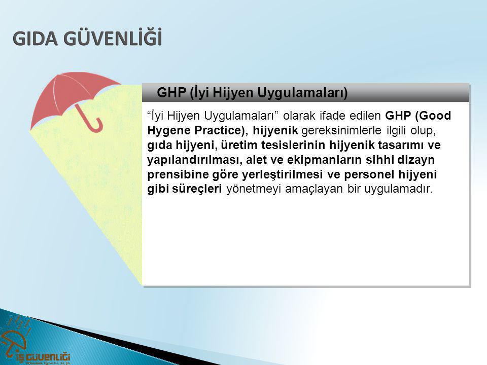 """GHP (İyi Hijyen Uygulamaları) """"İyi Hijyen Uygulamaları"""" olarak ifade edilen GHP (Good Hygene Practice), hijyenik gereksinimlerle ilgili olup, gıda hij"""