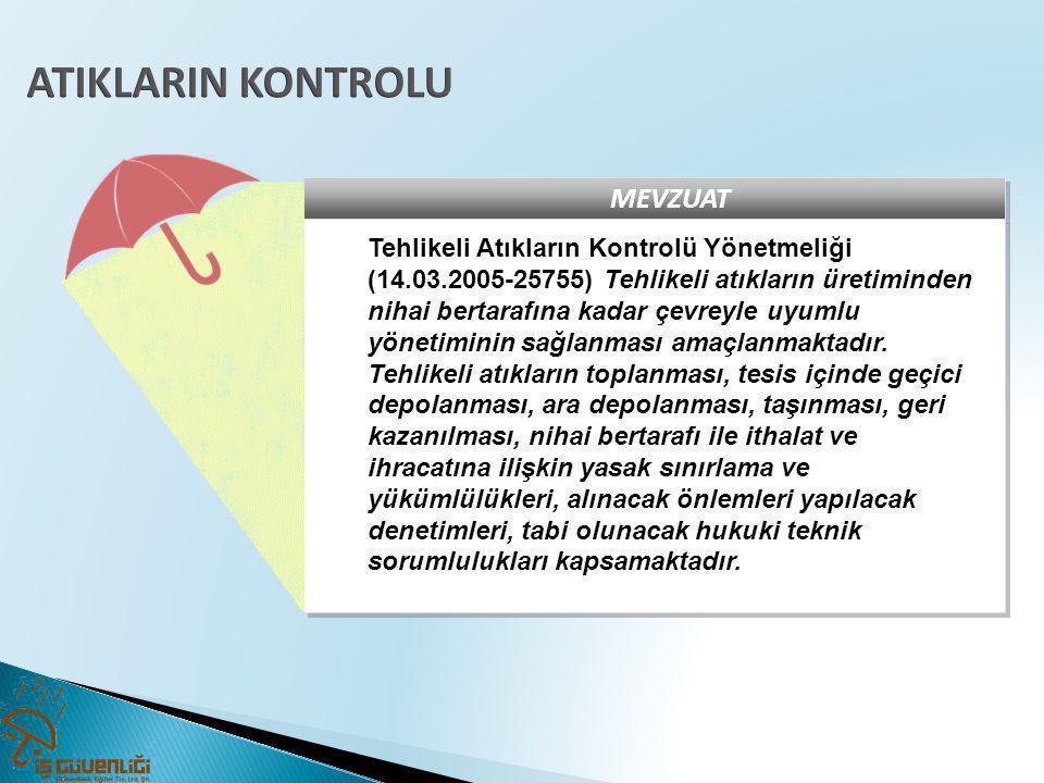 MEVZUAT Tehlikeli Atıkların Kontrolü Yönetmeliği (14.03.2005-25755) Tehlikeli atıkların üretiminden nihai bertarafına kadar çevreyle uyumlu yönetimini