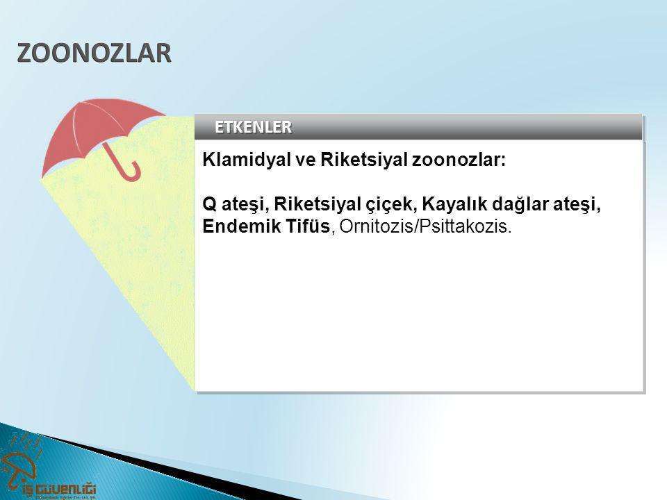 ETKENLERETKENLER Klamidyal ve Riketsiyal zoonozlar: Q ateşi, Riketsiyal çiçek, Kayalık dağlar ateşi, Endemik Tifüs, Ornitozis/Psittakozis. Klamidyal v