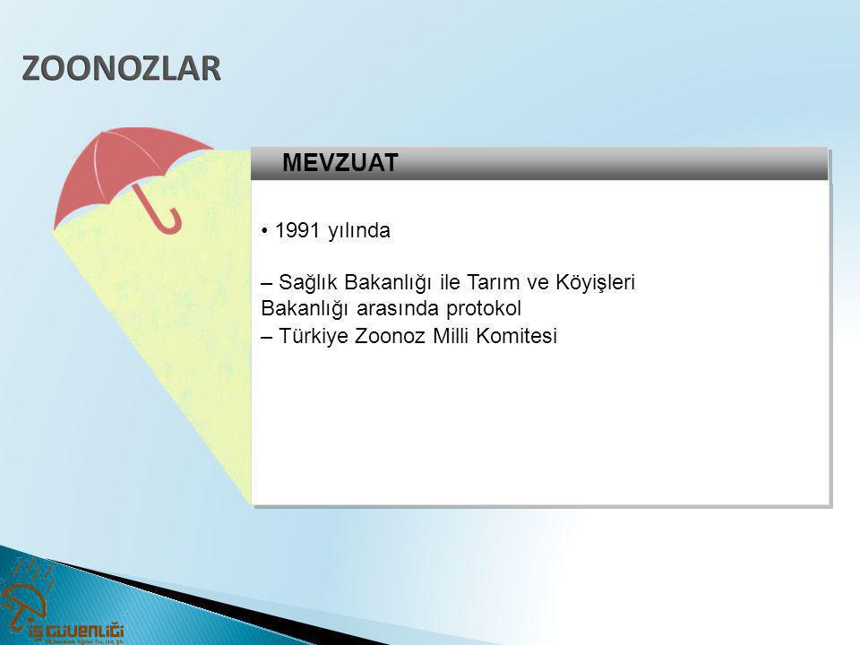 MEVZUAT • 1991 yılında – Sağlık Bakanlığı ile Tarım ve Köyişleri Bakanlığı arasında protokol – Türkiye Zoonoz Milli Komitesi • 1991 yılında – Sağlık B