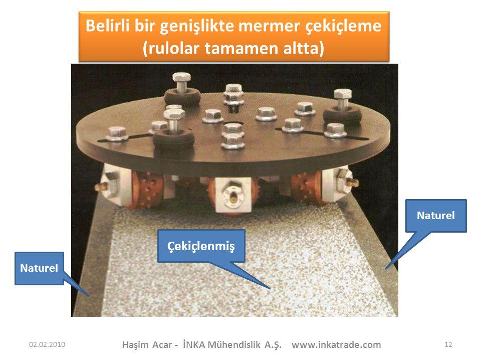 Haşim Acar - İNKA Mühendislik A.Ş. www.inkatrade.com 12 Belirli bir genişlikte mermer çekiçleme (rulolar tamamen altta) Belirli bir genişlikte mermer