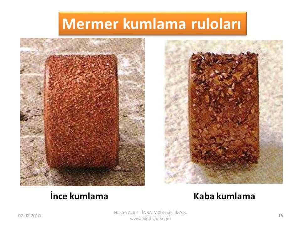 Haşim Acar - İNKA Mühendislik A.Ş. www.inkatrade.com 16 Mermer kumlama ruloları İnce kumlamaKaba kumlama 02.02.2010