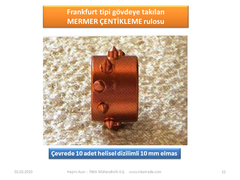 Haşim Acar - İNKA Mühendislik A.Ş. www.inkatrade.com22 Frankfurt tipi gövdeye takılan MERMER ÇENTİKLEME rulosu Frankfurt tipi gövdeye takılan MERMER Ç