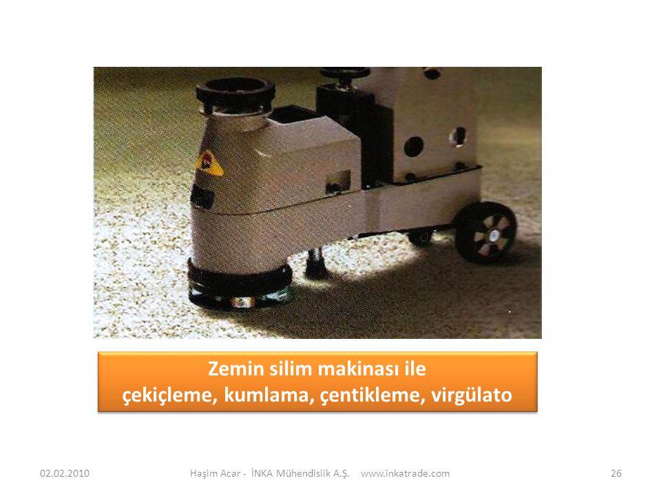 Haşim Acar - İNKA Mühendislik A.Ş. www.inkatrade.com26 Zemin silim makinası ile çekiçleme, kumlama, çentikleme, virgülato Zemin silim makinası ile çek