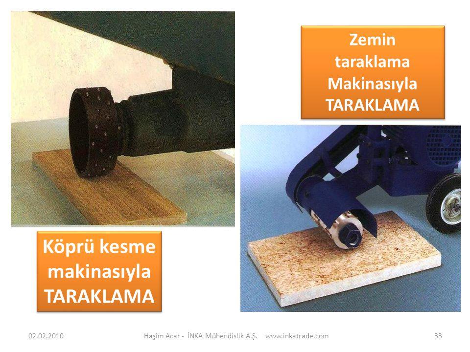 Haşim Acar - İNKA Mühendislik A.Ş. www.inkatrade.com33 Zemin taraklama Makinasıyla TARAKLAMA Zemin taraklama Makinasıyla TARAKLAMA Köprü kesme makinas