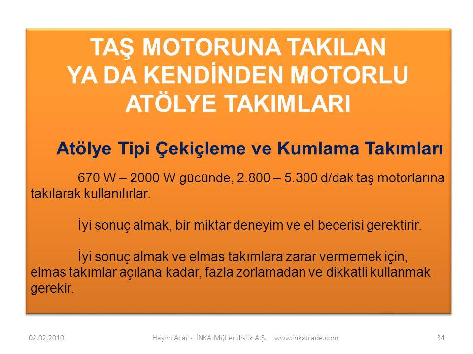 Haşim Acar - İNKA Mühendislik A.Ş. www.inkatrade.com34 TAŞ MOTORUNA TAKILAN YA DA KENDİNDEN MOTORLU ATÖLYE TAKIMLARI Atölye Tipi Çekiçleme ve Kumlama