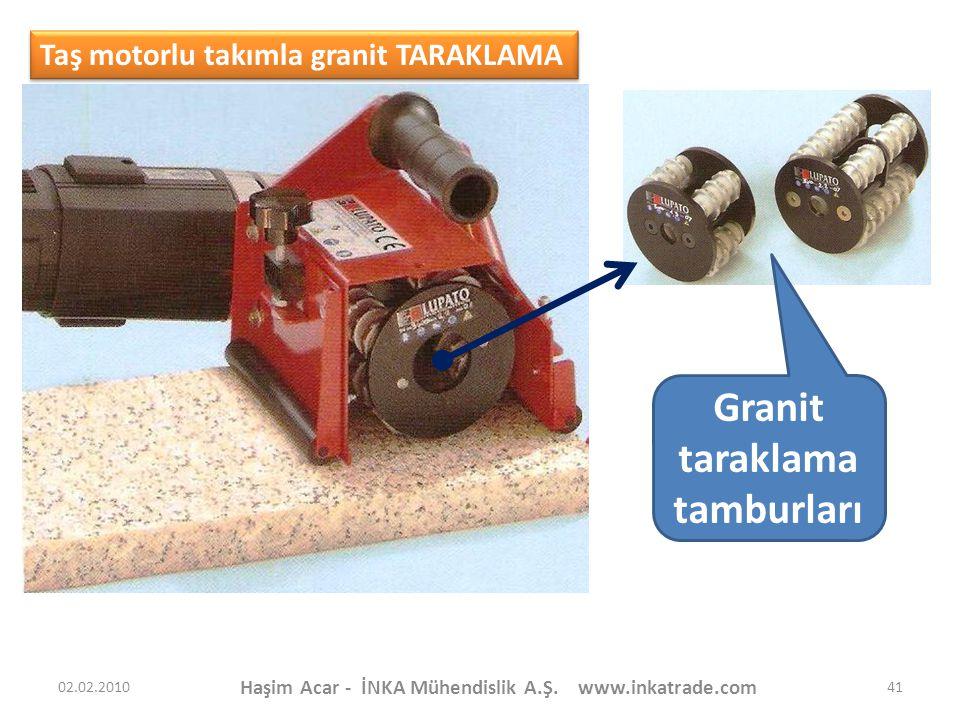 Haşim Acar - İNKA Mühendislik A.Ş. www.inkatrade.com 41 Taş motorlu takımla granit TARAKLAMA Granit taraklama tamburları 02.02.2010