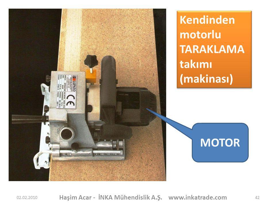 Haşim Acar - İNKA Mühendislik A.Ş. www.inkatrade.com 42 MOTOR Kendinden motorlu TARAKLAMA takımı (makinası) Kendinden motorlu TARAKLAMA takımı (makina
