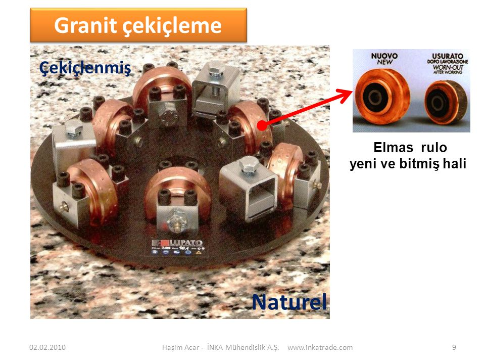 Elmas rulo yeni ve bitmiş hali Haşim Acar - İNKA Mühendislik A.Ş. www.inkatrade.com9 Granit çekiçleme Çekiçlenmiş Naturel 02.02.2010