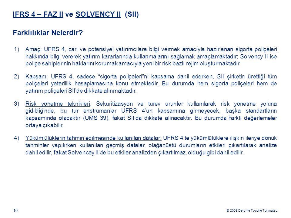 © 2009 Deloitte Touche Tohmatsu IFRS 4 – FAZ II ve SOLVENCY II (SII) Farklılıklar Nelerdir? 10 1)Amaç: UFRS 4, cari ve potansiyel yatırımcılara bilgi