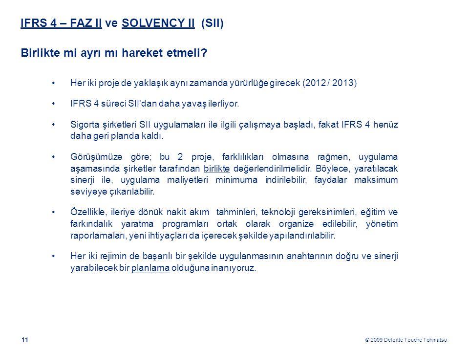 © 2009 Deloitte Touche Tohmatsu IFRS 4 – FAZ II ve SOLVENCY II (SII) Birlikte mi ayrı mı hareket etmeli? 11 •Her iki proje de yaklaşık aynı zamanda yü