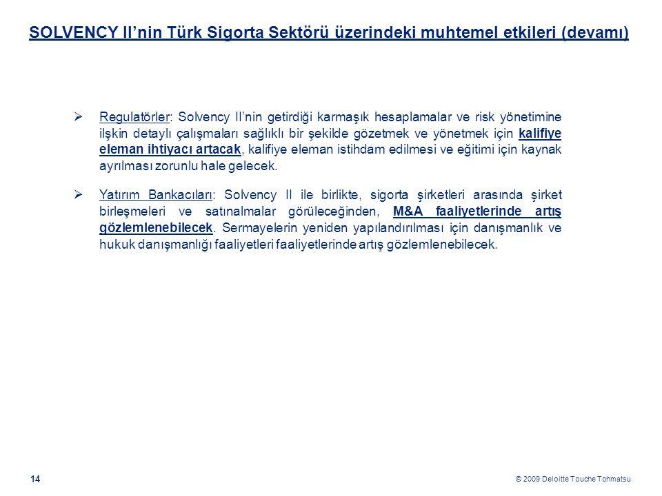 © 2009 Deloitte Touche Tohmatsu SOLVENCY II'nin Türk Sigorta Sektörü üzerindeki muhtemel etkileri (devamı) 14  Regulatörler: Solvency II'nin getirdiğ