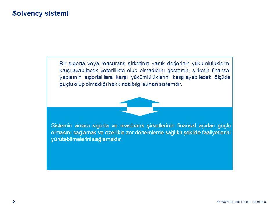 © 2009 Deloitte Touche Tohmatsu 2 Solvency sistemi Bir sigorta veya reasürans şirketinin varlık değerinin yükümlülüklerini karşılayabilecek yeterlilikte olup olmadığını gösteren, şirketin finansal yapısının sigortalılara karşı yükümlülüklerini karşılayabilecek ölçüde güçlü olup olmadığı hakkında bilgi sunan sistemdir.