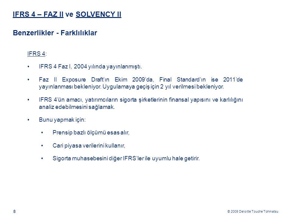 © 2009 Deloitte Touche Tohmatsu IFRS 4 – FAZ II ve SOLVENCY II Benzerlikler - Farklılıklar 8 IFRS 4: •IFRS 4 Faz I, 2004 yılında yayınlanmıştı. •Faz I