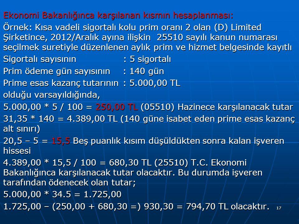 Ekonomi Bakanlığınca karşılanan kısmın hesaplanması: Örnek: Kısa vadeli sigortalı kolu prim oranı 2 olan (D) Limited Şirketince, 2012/Aralık ayına ilişkin 25510 sayılı kanun numarası seçilmek suretiyle düzenlenen aylık prim ve hizmet belgesinde kayıtlı Sigortalı sayısının : 5 sigortalı Prim ödeme gün sayısının: 140 gün Prime esas kazanç tutarının: 5.000,00 TL olduğu varsayıldığında, 5.000,00 * 5 / 100 = 250,00 TL (05510) Hazinece karşılanacak tutar 31,35 * 140 = 4.389,00 TL (140 güne isabet eden prime esas kazanç alt sınırı) 20,5 – 5 = 15,5 Beş puanlık kısım düşüldükten sonra kalan işveren hissesi 4.389,00 * 15,5 / 100 = 680,30 TL (25510) T.C.