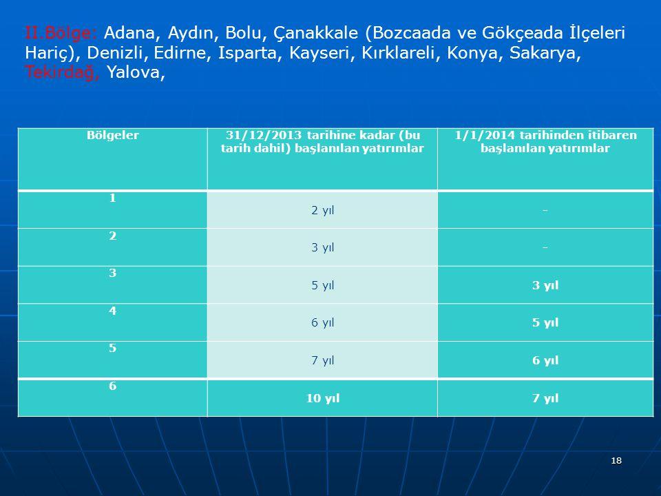 18 Bölgeler31/12/2013 tarihine kadar (bu tarih dahil) başlanılan yatırımlar 1/1/2014 tarihinden itibaren başlanılan yatırımlar 1 2 yıl- 2 3 yıl- 3 5 yıl3 yıl 4 6 yıl5 yıl 5 7 yıl6 yıl 6 10 yıl7 yıl II.Bölge: Adana, Aydın, Bolu, Çanakkale (Bozcaada ve Gökçeada İlçeleri Hariç), Denizli, Edirne, Isparta, Kayseri, Kırklareli, Konya, Sakarya, Tekirdağ, Yalova,