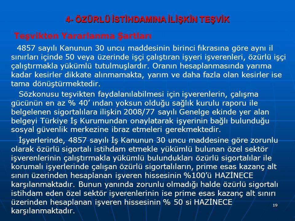4- ÖZÜRLÜ İSTİHDAMINA İLİŞKİN TEŞVİK Teşvikten Yararlanma Şartları 4857 sayılı Kanunun 30 uncu maddesinin birinci fıkrasına göre aynı il sınırları içi