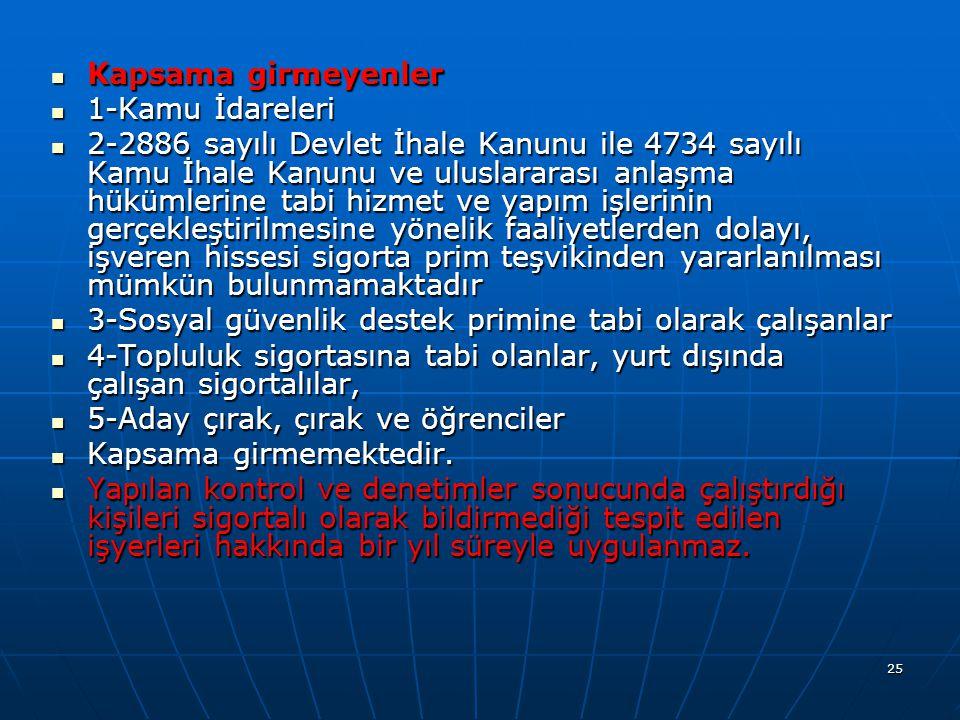  Kapsama girmeyenler  1-Kamu İdareleri  2-2886 sayılı Devlet İhale Kanunu ile 4734 sayılı Kamu İhale Kanunu ve uluslararası anlaşma hükümlerine tab