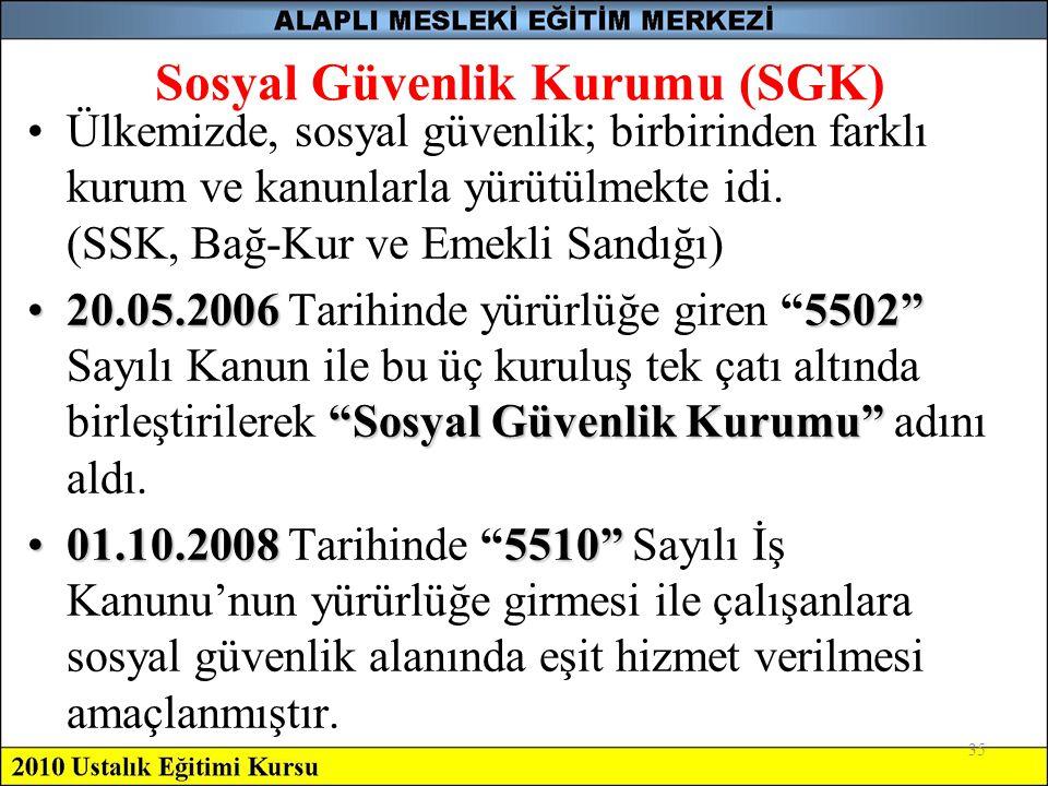 35 Sosyal Güvenlik Kurumu (SGK) •Ülkemizde, sosyal güvenlik; birbirinden farklı kurum ve kanunlarla yürütülmekte idi. (SSK, Bağ-Kur ve Emekli Sandığı)