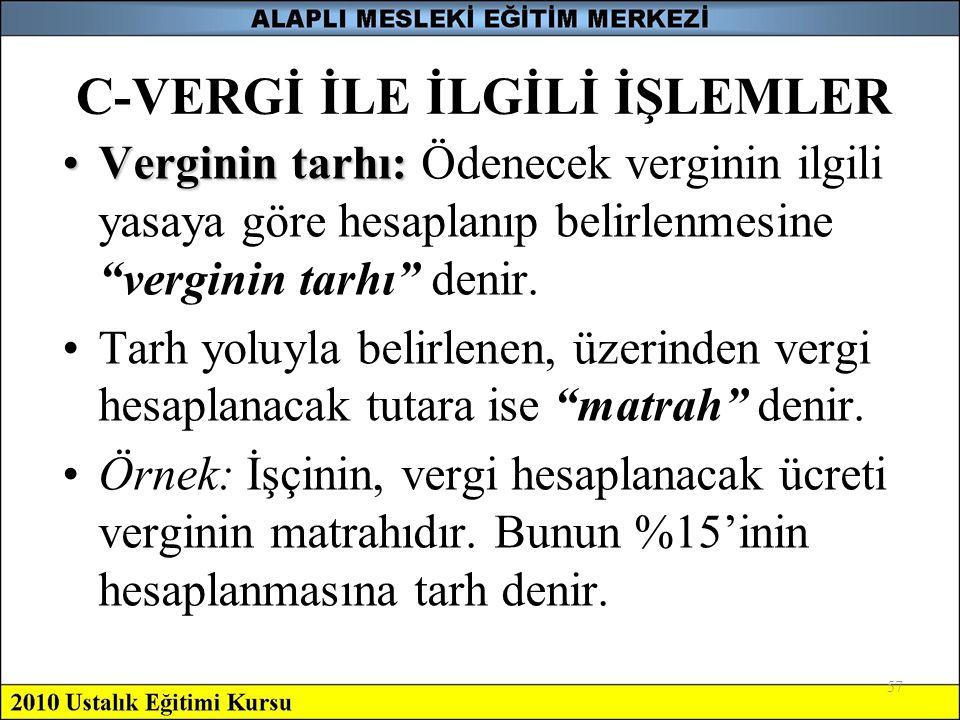 """57 C-VERGİ İLE İLGİLİ İŞLEMLER •Verginin tarhı: •Verginin tarhı: Ödenecek verginin ilgili yasaya göre hesaplanıp belirlenmesine """"verginin tarhı"""" denir"""