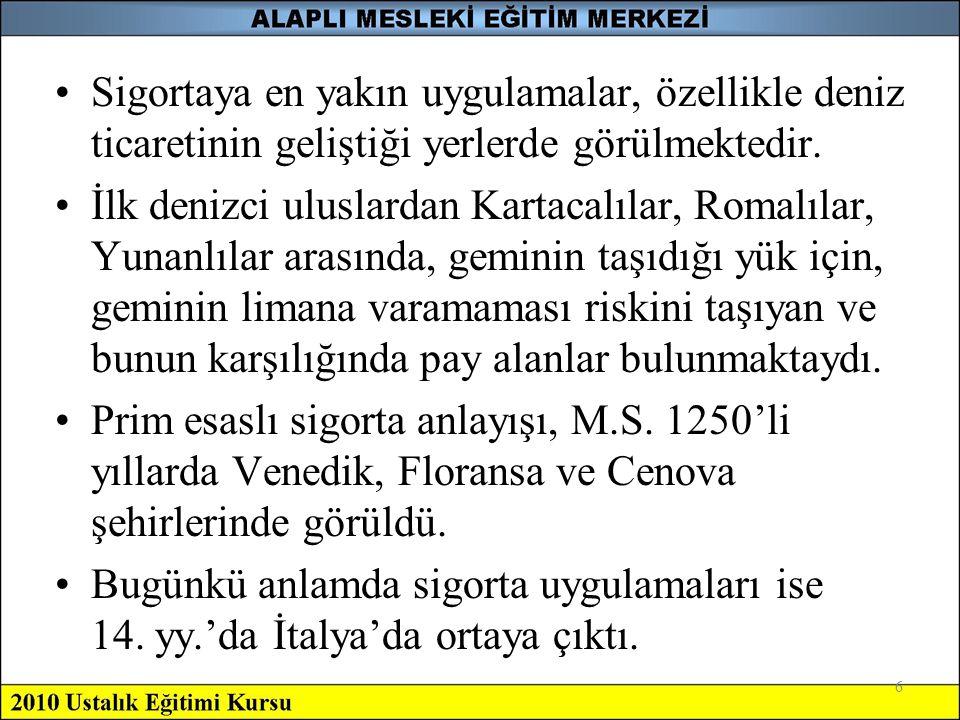 6 •Sigortaya en yakın uygulamalar, özellikle deniz ticaretinin geliştiği yerlerde görülmektedir. •İlk denizci uluslardan Kartacalılar, Romalılar, Yuna