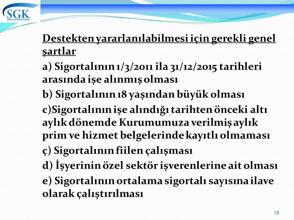18 Destekten yararlanılabilmesi için gerekli genel şartlar a) Sigortalının 1/3/2011 ila 31/12/2015 tarihleri arasında işe alınmış olması b) Sigortalın