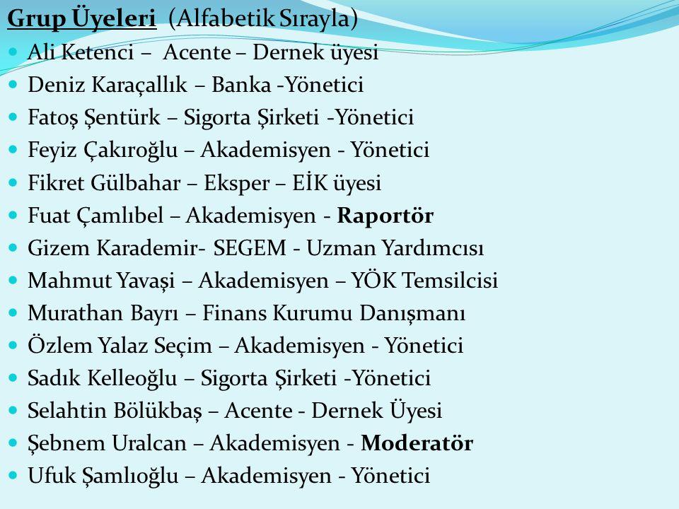 Grup Üyeleri (Alfabetik Sırayla)  Ali Ketenci – Acente – Dernek üyesi  Deniz Karaçallık – Banka -Yönetici  Fatoş Şentürk – Sigorta Şirketi -Yönetic
