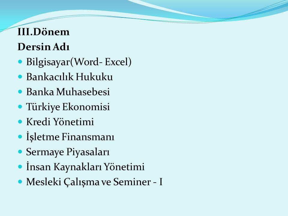 III.Dönem Dersin Adı  Bilgisayar(Word- Excel)  Bankacılık Hukuku  Banka Muhasebesi  Türkiye Ekonomisi  Kredi Yönetimi  İşletme Finansmanı  Serm