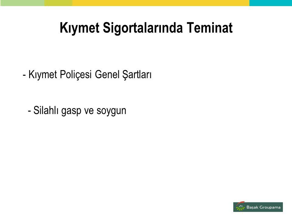 Kıymet Sigortalarında Teminat - Kıymet Poliçesi Genel Şartları - Silahlı gasp ve soygun