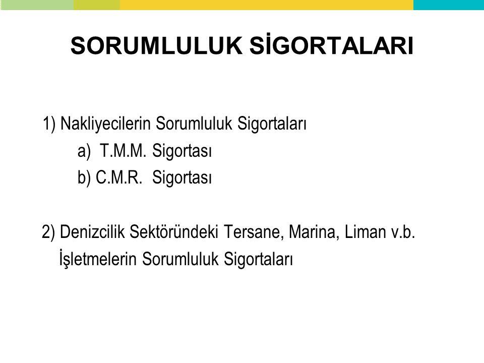 SORUMLULUK SİGORTALARI 1) Nakliyecilerin Sorumluluk Sigortaları a) T.M.M. Sigortası b) C.M.R. Sigortası 2) Denizcilik Sektöründeki Tersane, Marina, Li