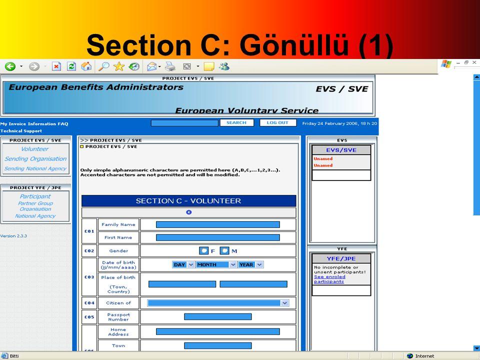 Section C: Gönüllü (1)