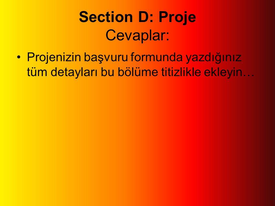 Section D: Proje Cevaplar: •Projenizin başvuru formunda yazdığınız tüm detayları bu bölüme titizlikle ekleyin…
