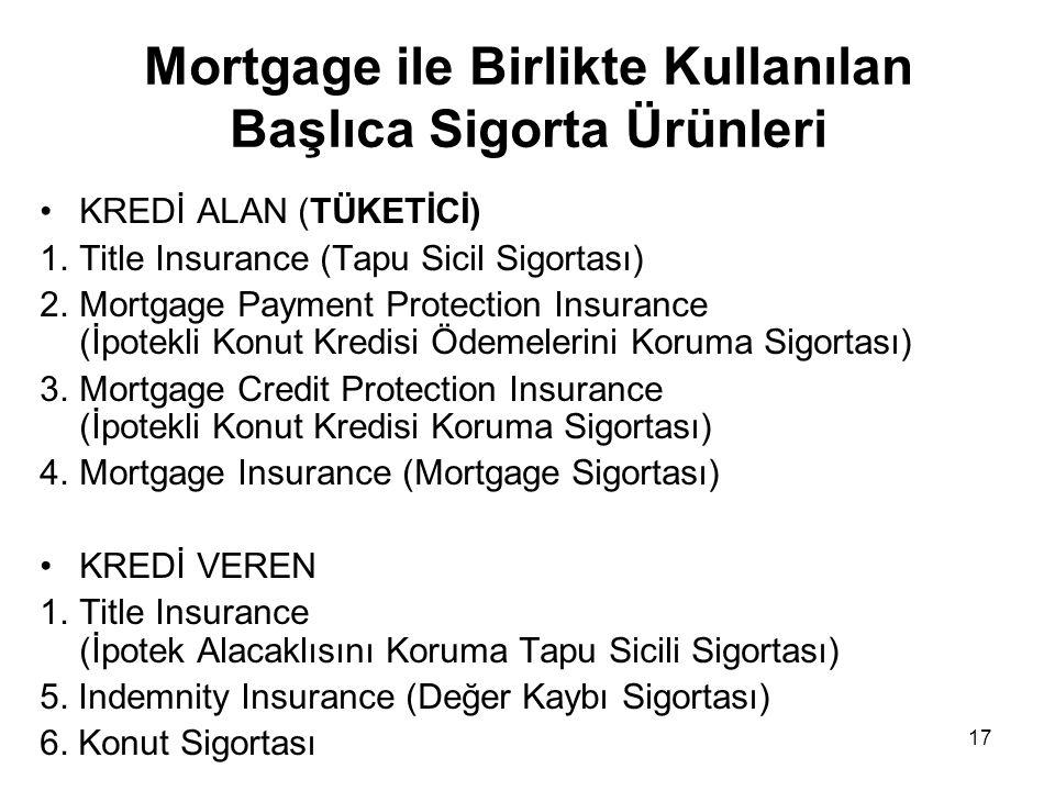 17 Mortgage ile Birlikte Kullanılan Başlıca Sigorta Ürünleri •KREDİ ALAN (TÜKETİCİ) 1.Title Insurance (Tapu Sicil Sigortası) 2.Mortgage Payment Protec