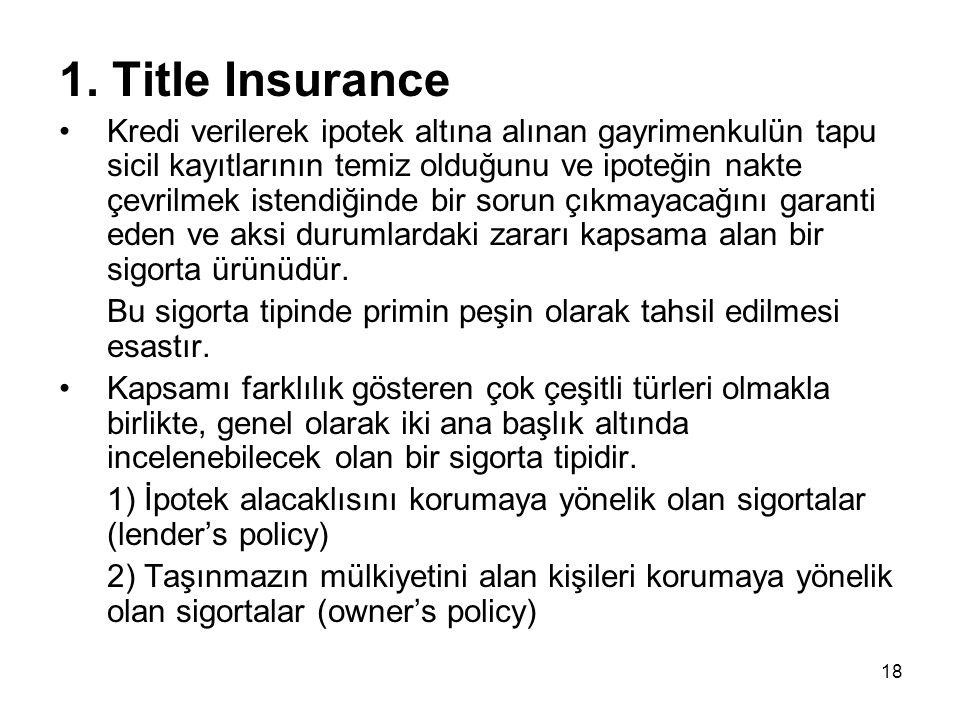 18 1. Title Insurance •Kredi verilerek ipotek altına alınan gayrimenkulün tapu sicil kayıtlarının temiz olduğunu ve ipoteğin nakte çevrilmek istendiği