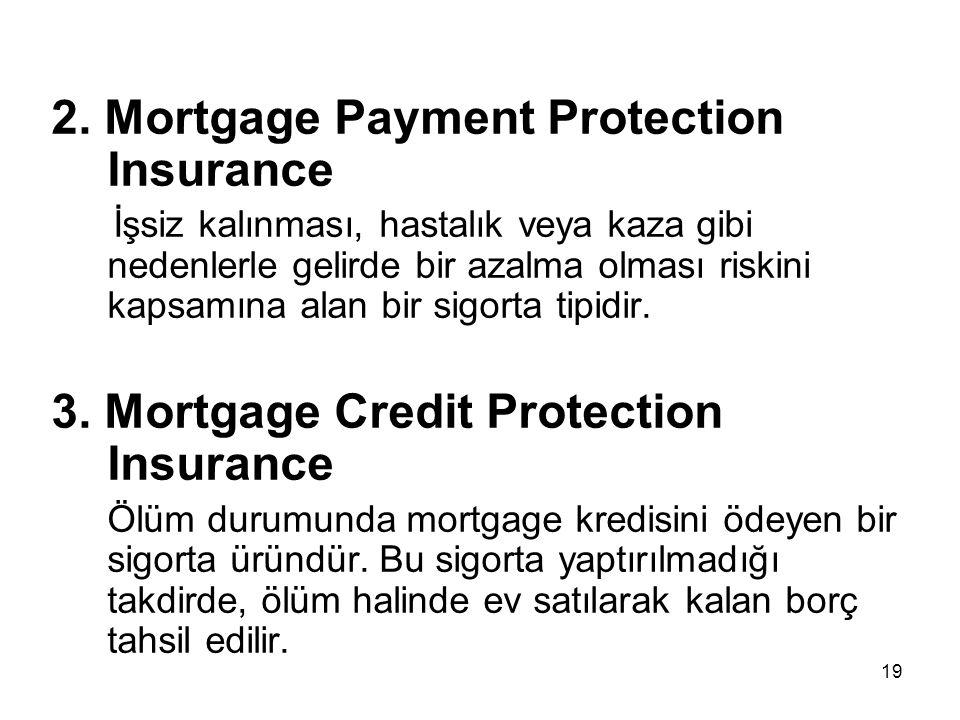 19 2. Mortgage Payment Protection Insurance İşsiz kalınması, hastalık veya kaza gibi nedenlerle gelirde bir azalma olması riskini kapsamına alan bir s