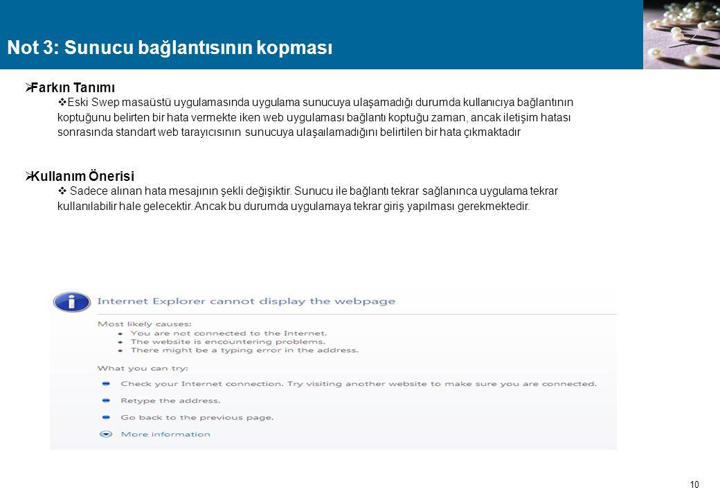 Not 3: Sunucu bağlantısının kopması 10  Farkın Tanımı  Eski Swep masaüstü uygulamasında uygulama sunucuya ulaşamadığı durumda kullanıcıya bağlantını