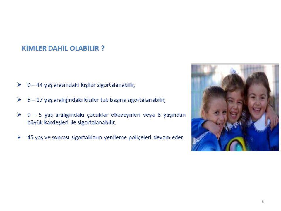  0 – 44 yaş arasındaki kişiler sigortalanabilir,  6 – 17 yaş aralığındaki kişiler tek başına sigortalanabilir,  0 – 5 yaş aralığındaki çocuklar ebe