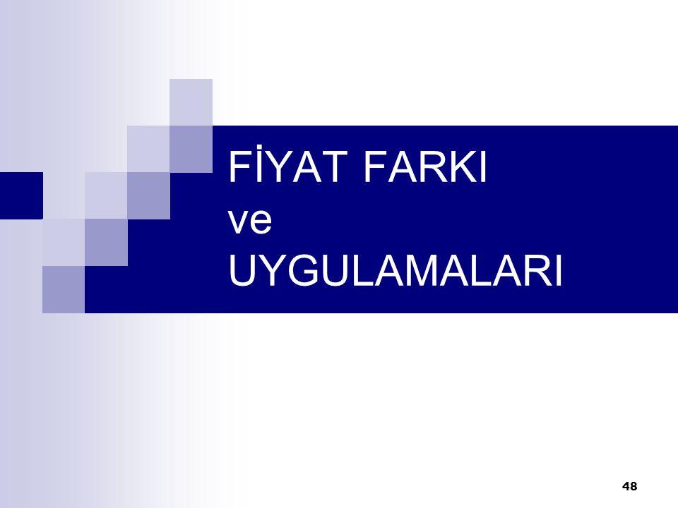 48 FİYAT FARKI ve UYGULAMALARI