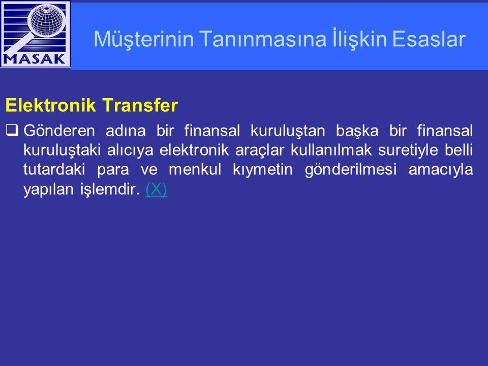 Müşterinin Tanınmasına İlişkin Esaslar Elektronik Transfer  Gönderen adına bir finansal kuruluştan başka bir finansal kuruluştaki alıcıya elektronik