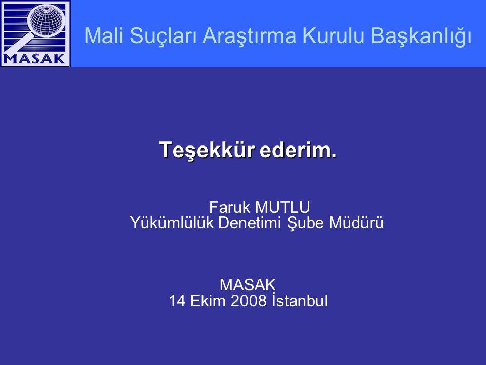 Mali Suçları Araştırma Kurulu Başkanlığı Teşekkür ederim. Faruk MUTLU Yükümlülük Denetimi Şube Müdürü MASAK 14 Ekim 2008 İstanbul