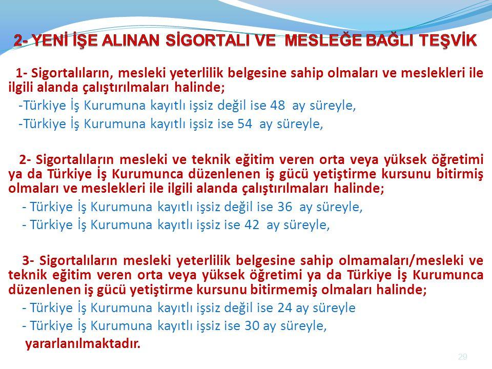 1- Sigortalıların, mesleki yeterlilik belgesine sahip olmaları ve meslekleri ile ilgili alanda çalıştırılmaları halinde; -Türkiye İş Kurumuna kayıtlı