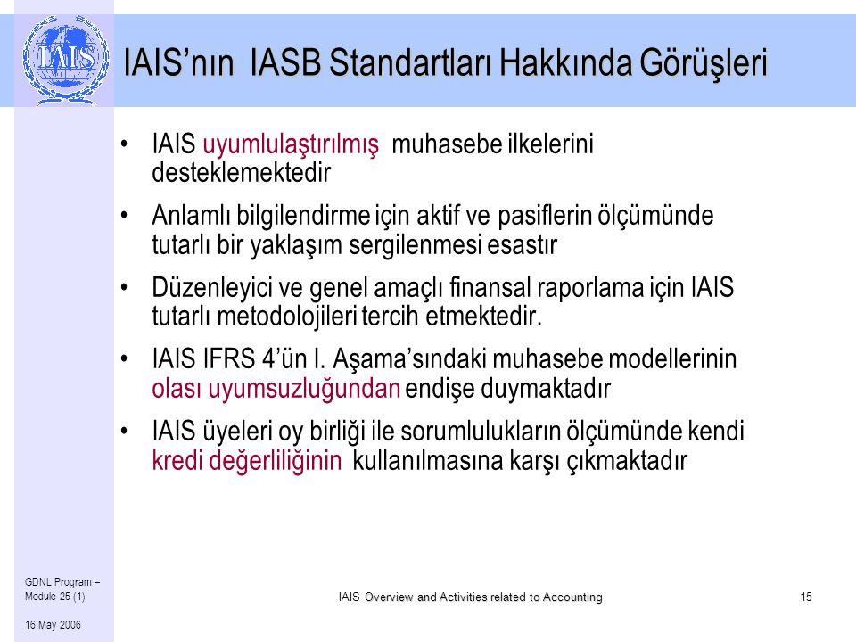 Overview and Activities related to Accounting IAIS Overview and Activities related to Accounting15 GDNL Program – Module 25 (1) 16 May 2006 IAIS'nın IASB Standartları Hakkında Görüşleri •IAIS uyumlulaştırılmış muhasebe ilkelerini desteklemektedir •Anlamlı bilgilendirme için aktif ve pasiflerin ölçümünde tutarlı bir yaklaşım sergilenmesi esastır •Düzenleyici ve genel amaçlı finansal raporlama için IAIS tutarlı metodolojileri tercih etmektedir.