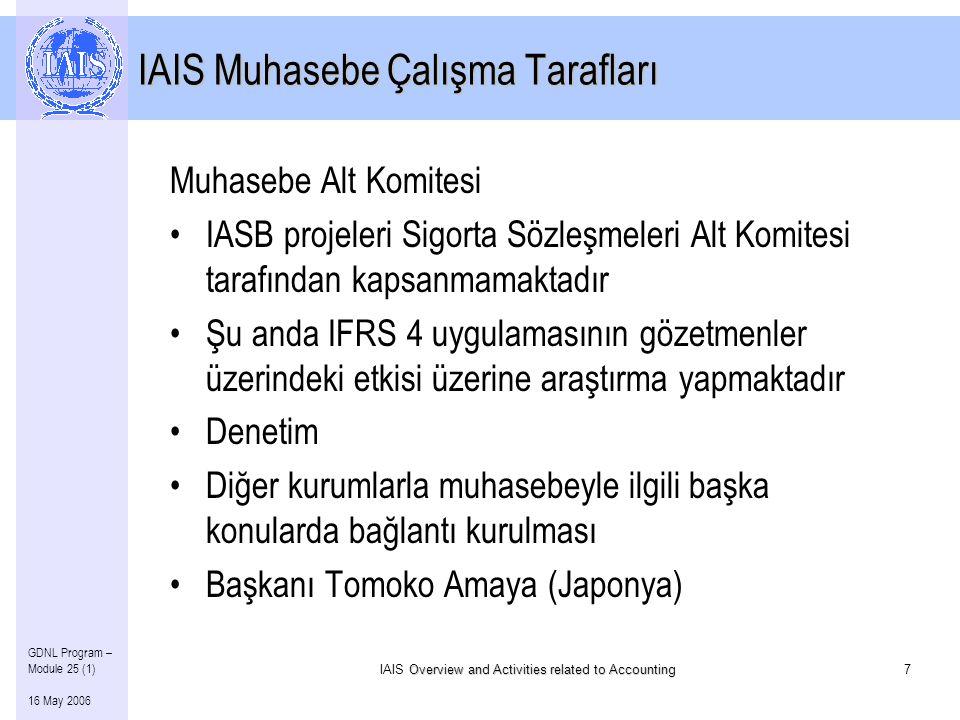 Overview and Activities related to Accounting IAIS Overview and Activities related to Accounting7 GDNL Program – Module 25 (1) 16 May 2006 IAIS Muhasebe Çalışma Tarafları Muhasebe Alt Komitesi •IASB projeleri Sigorta Sözleşmeleri Alt Komitesi tarafından kapsanmamaktadır •Şu anda IFRS 4 uygulamasının gözetmenler üzerindeki etkisi üzerine araştırma yapmaktadır •Denetim •Diğer kurumlarla muhasebeyle ilgili başka konularda bağlantı kurulması •Başkanı Tomoko Amaya (Japonya)