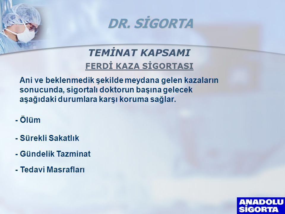 TEMİNAT KAPSAMI FERDİ KAZA SİGORTASI Ani ve beklenmedik şekilde meydana gelen kazaların sonucunda, sigortalı doktorun başına gelecek aşağıdaki durumlara karşı koruma sağlar.