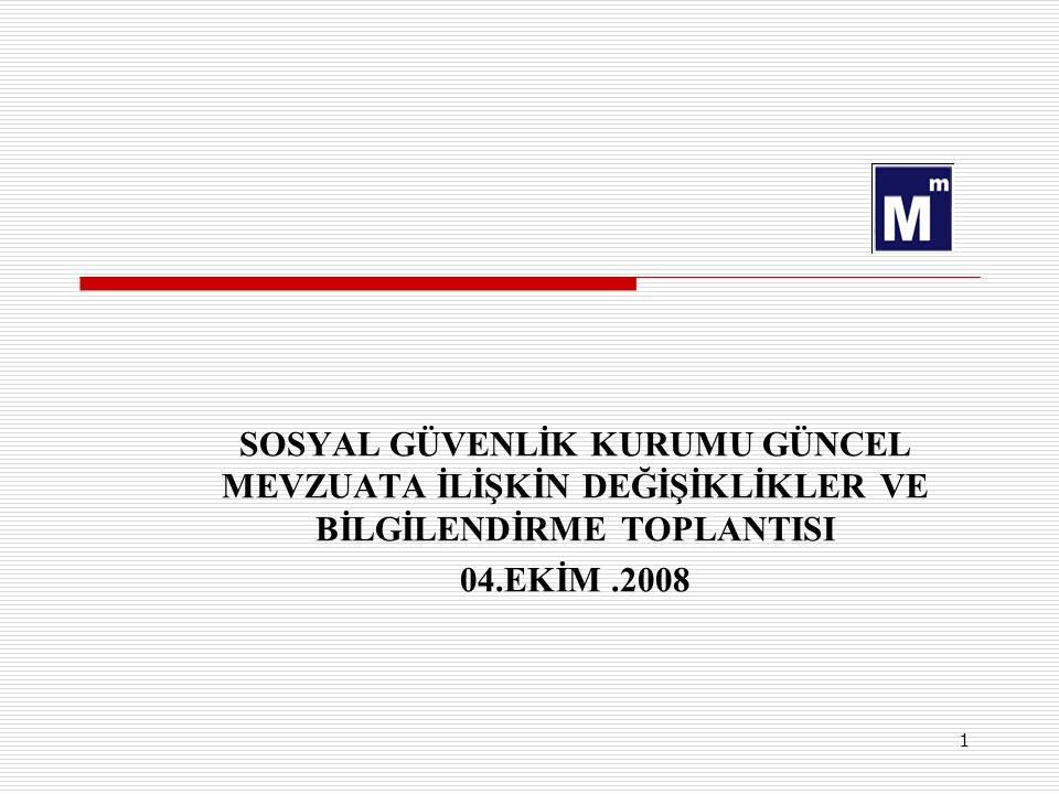 1 SOSYAL GÜVENLİK KURUMU GÜNCEL MEVZUATA İLİŞKİN DEĞİŞİKLİKLER VE BİLGİLENDİRME TOPLANTISI 04.EKİM.2008