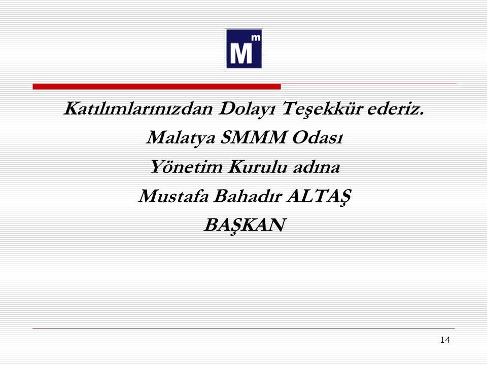 14 Katılımlarınızdan Dolayı Teşekkür ederiz. Malatya SMMM Odası Yönetim Kurulu adına Mustafa Bahadır ALTAŞ BAŞKAN
